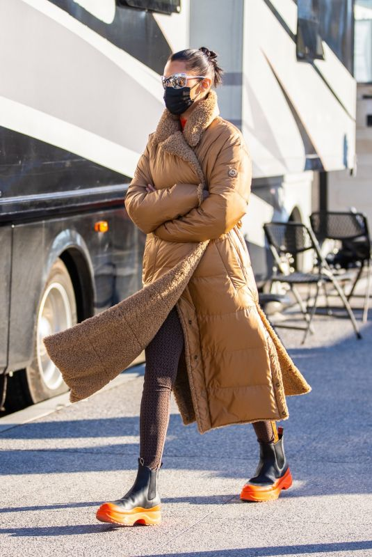 BELLA HADID on the Set of a Michael Kors Campaign in New York 03/29/2021