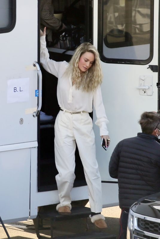 BRIE LARSON on a Movie Set in Los Angeles 03/09/2021