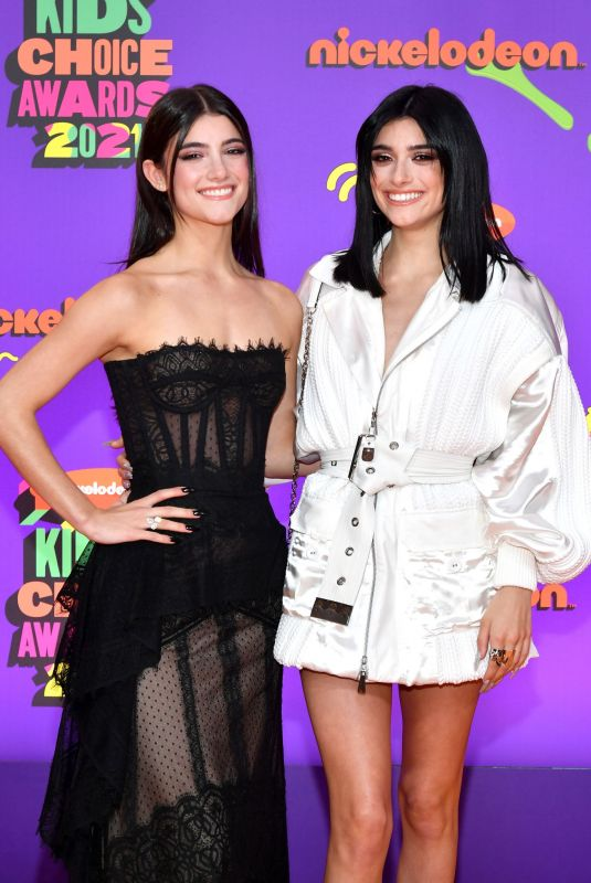 CHARLI and DIXIE D'AMELIO at Nickelodeon's 2021 Kids' Choice Awards in Santa Monica 03/13/2021