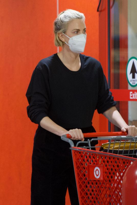 CHARLIZE THERON Shopping at Target in Van Nuys 03/08/2021