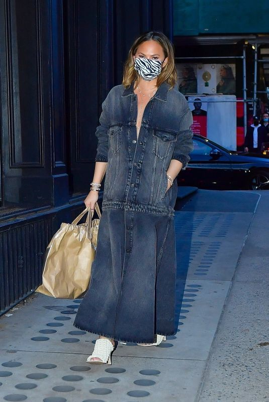 CHRISSY TEIGEN in Denim Out in New York 03/07/2021