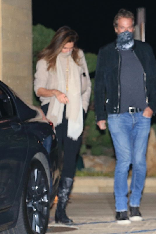 CINDY CRAWFORD and Rande Gerber Night Out in Malibu 03/08/2021
