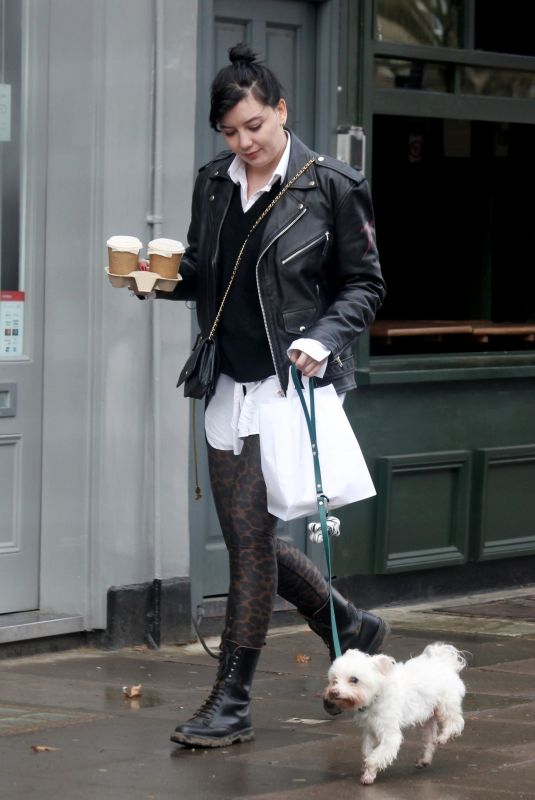 DAISY LOWE Out with Her Dog in Primrose Hill 03/25/2021