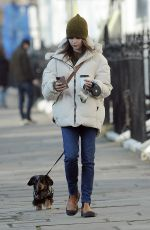 EMILIA CLARKE Out with her Dog in London 03/07/2021