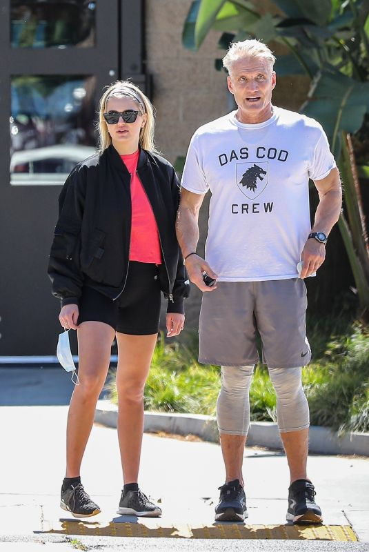 EMMA KROKDAL and Dolph Lundgren Out in Beverly Hills 03/24/2021