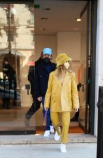 HAILEY and Justin BIEBER Leaves Bottega Store in Paris 02/28/2021
