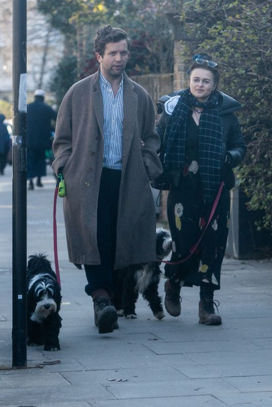 HELENA BONHAM CARTER abd Rye Dag Holmboe Out with Their Dogs in London 03/22/2021