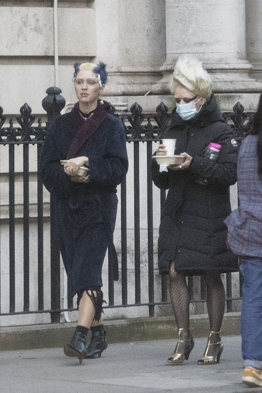 IRIS LAW and MAISIE WILLIAMS on the Set of Danny Boyle's Sex Pistols Drama in London 03/22/2021