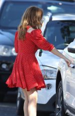 ISLA FISHER in a Red Dress Out for Coffee in Sydney 03/28/2021