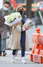 JESSICA CHASTAIN Out Buying Flowers in New York 03/14/22021