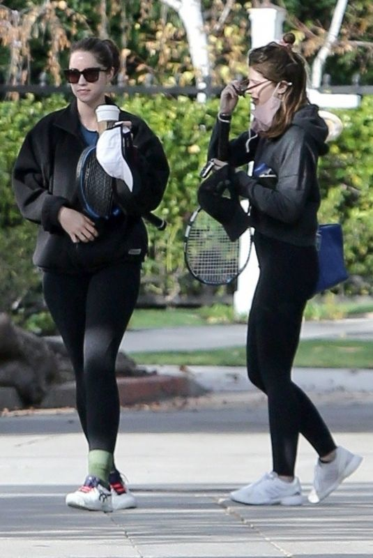 KATHERINE and CHRISTINA SCHWARZENEGGER Arrives at Tennis Lesson in Los Angeles 03/08/2021