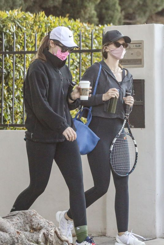 KATHERINE and CHRISTINA SCHWARZENEGGER Leaves Tennis Court in Brentwood 03/11/2021