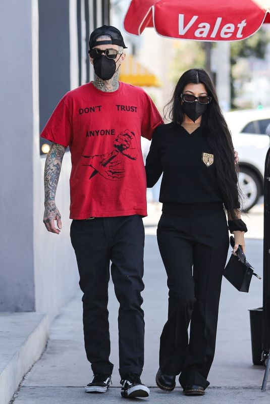 KORTNEY KARDASHIAN and Travis Barker Out in West Hollywood 03/26/2021