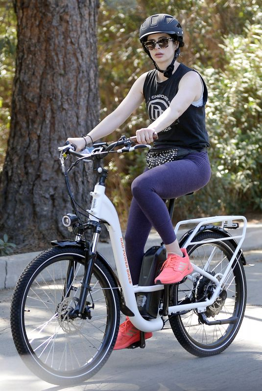 KRYSTEN RITTER Out Riding Electric Bicycle in Los Angeles 03/05/2021