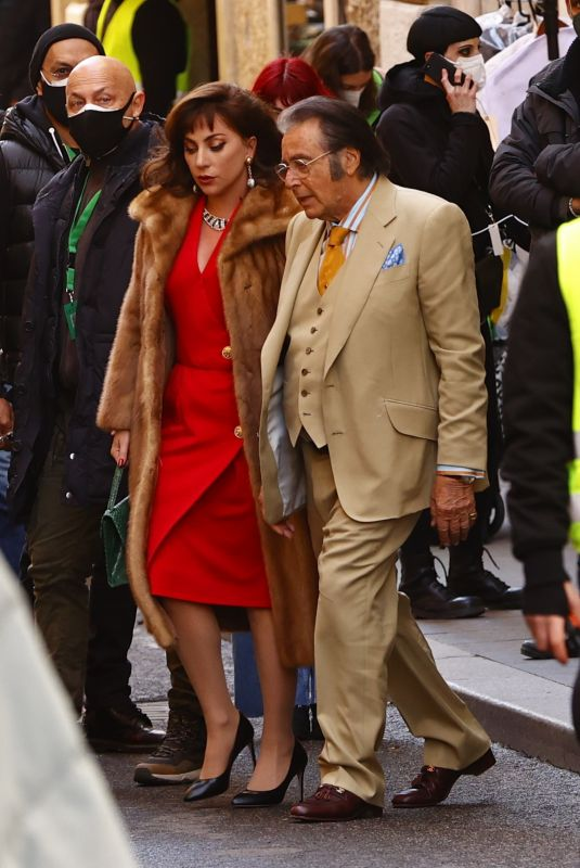 LADY GAGA and Al Pacino on the Set of House of Gucci in Rome 03/22/2021