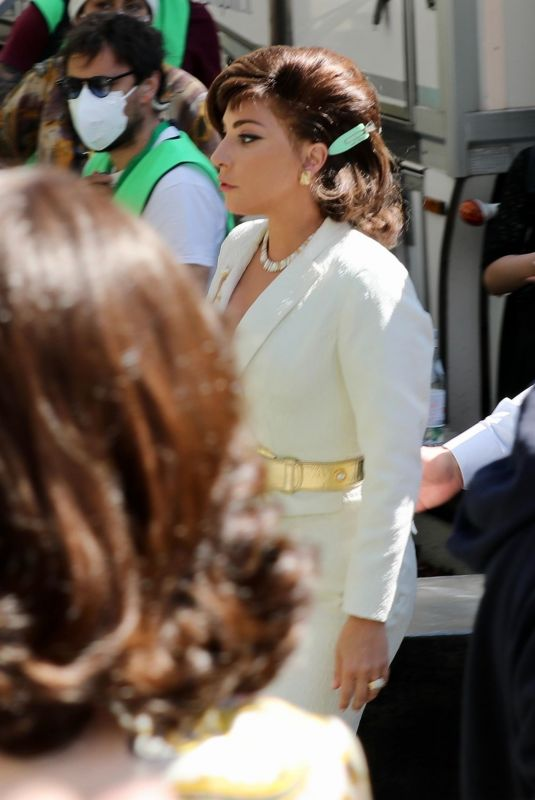 LADY GAGA Arrives on the Set of House of Gucci in Rome 03/31/2021