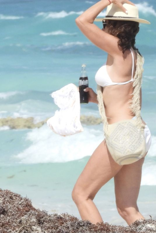LUANN DE LESSEPS in a White Bikini at a Beach in Tulum 03/17/2021