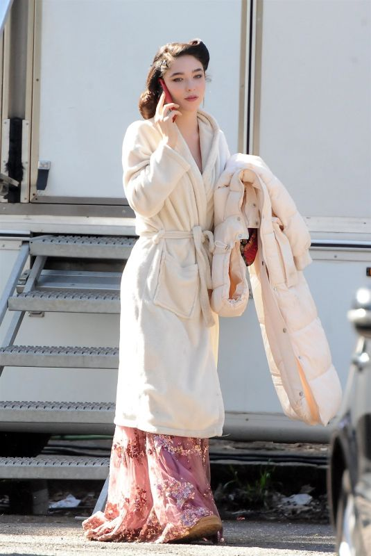 MATILDA DE ANGELIS on the set of Robbing Mussolini in Rome 03/19/2021