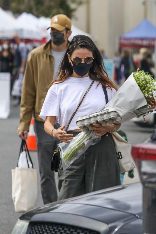 MILA KUNIS at Farmers Market in Los Angeles 03/07/2021