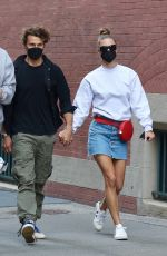 NINA AGDAL in Denim Skirt Out in New York 03/27/2021