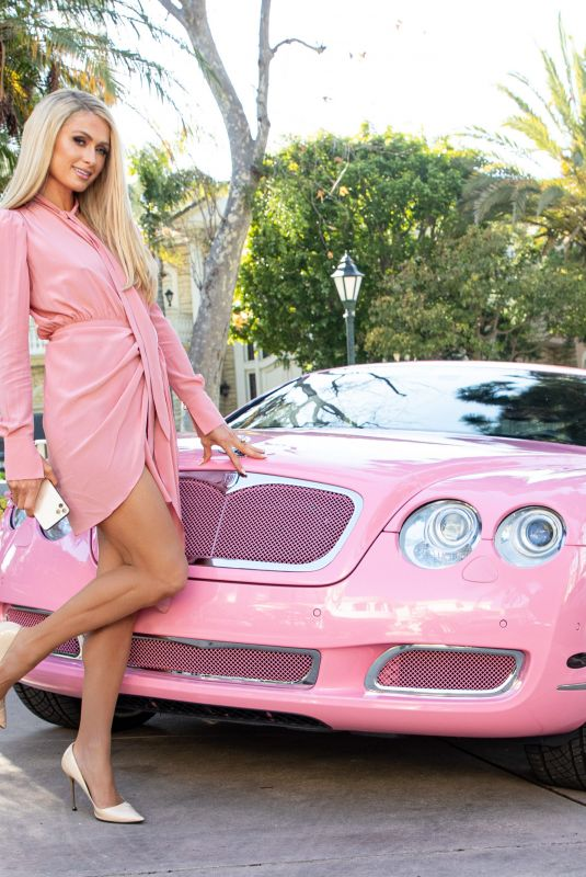 PARIS HILTON All in Pink Posing in Beverly Hills 03/16/2021