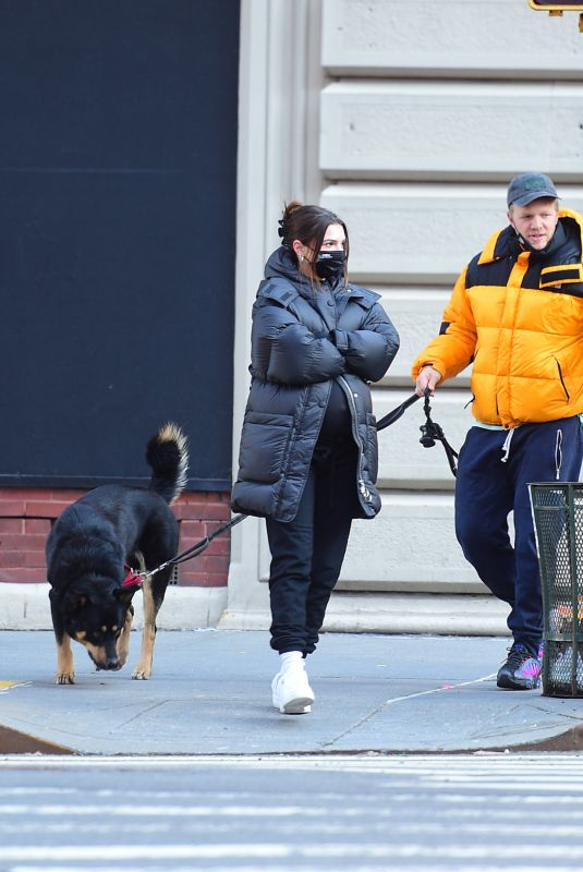 Pregnant EMILY RATAJKOWSKI and Sebastian Bear McClard Out with Their Dog in New York 03/03/2021