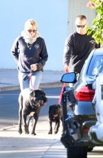 ROBIN WRIGHT and Clement Giraudet Out with Their Dogs in Brentwood 03/05/2021