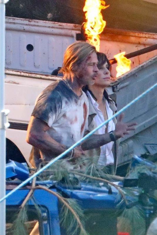 SANDRA BULLOCK and Brad Pitt on the Set of Bullet Train in Los Angeles 03/04/2021