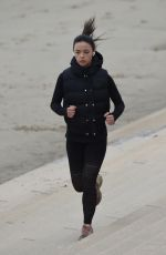 VANESSA BAUER Out Jogging at a Beach in Blackpool 03/09/2021