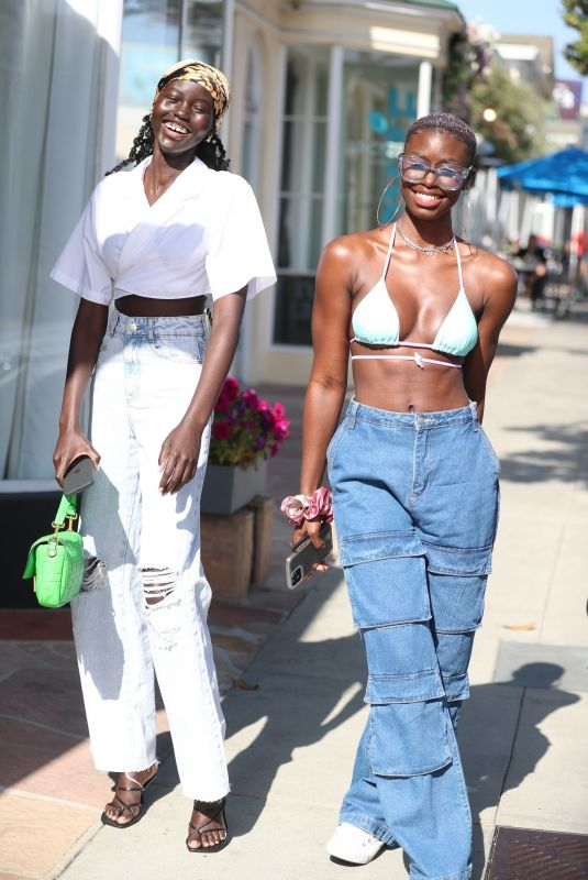ADUT AKECJ and DIARRA SYLLA Out on Sunset Strip in West Hollywood 04/05/22021