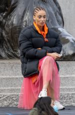 ADWOA ABOAH on the Set of a Commercial at Trafalgar Square in London 04/08/2021