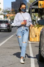 ALESSANDRA AMBROSIO in Ripped Denim at Kreation Organic in Brentwood 04/05/2021