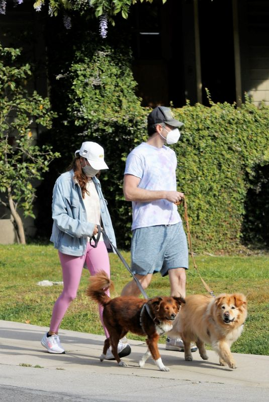 AUBREY PLAZA and Jeff Out with Their Dogs in Los Feliz 04/06/2021