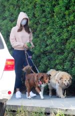 AUBREY PLAZA Out with Her Dogs in Los Feliz 04/18/2021