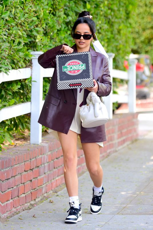 BECKY G Out for Pizza in West Hollywood 04/27/2021