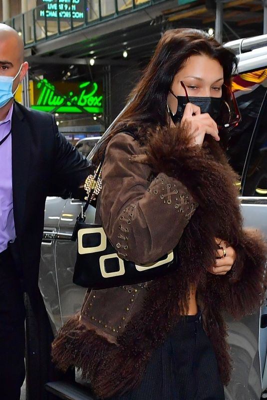 BELLA HADID Out with Her Dog in New York 04/18/2021
