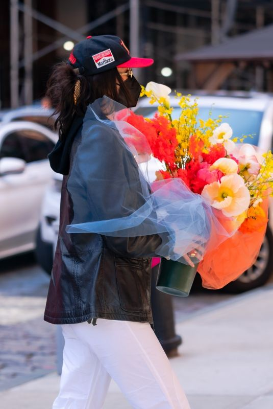 BELLA HADID with a Huge Bouquet of Flowers Out in New York 04/23/2021