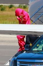 BEYONCE Arrives on a Private Jet in Los Angeles 04/18/2021