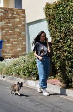 CARA SANTANA Out with Her Dog in Los Angeles 04/10/2021