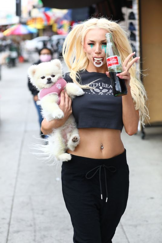 COURTNEY STODDEN Out with Her Dog in Los Angeles 04/323/2021