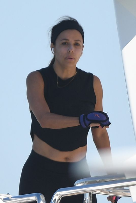 EVA LONGORIA Workout on a Yacht in Miami 04/14/2021