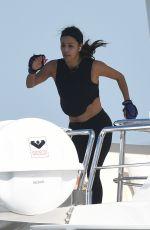 EVA LONGORIA Workout on a Yacht in Miami 04/14/2021