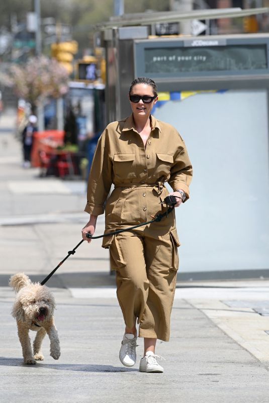 GEORGINA BURKE Out with Her Dog in New York 04/21/2021