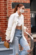 GIGI HADID in Ripped Denim Out in New York 04/10/2021
