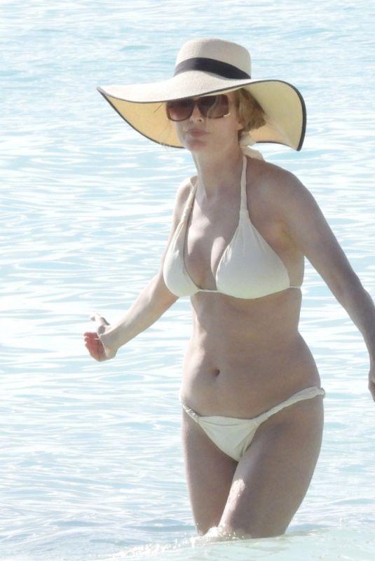 HEATHER GRAHAM in Bikini at a Beach in Tulum 04/08/2021