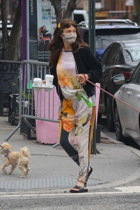 HELENA CHRISTENSEN Out with Her Dog in New York 03/31/2021