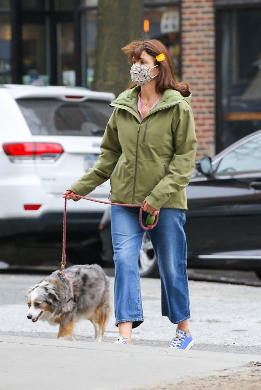 HELENA CHRISTENSEN Out with Her Dog in New York 04/09/2021