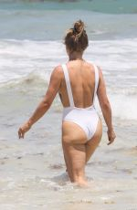 JULIANNE HOUGH in a White Swimsuit at a Beach in Tulum 04/29/2021