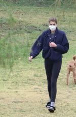 KAIA GERBER Out with her Dog at a Park in Hollywood 04/22/2021