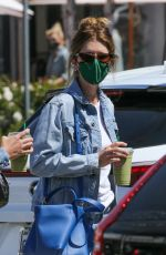 KATHERINE SCHWARZENEGGER in Double Denim Out Shopping in Pacific Palisades 04/09/2021